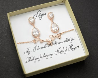 Bridesmaid Gift,Rose gold Bridesmaid Earrings,Bridesmaids Gifts set of  4 5 6 7 8,wedding earrings, bridal earrings ,bridesmaid necklace