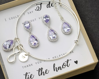 lavender purple Bridesmaid gifts Jewelry lavender purple  earrings necklace bracelet personalized Bridal jewelry Bridesmaid gift set 4 5 6
