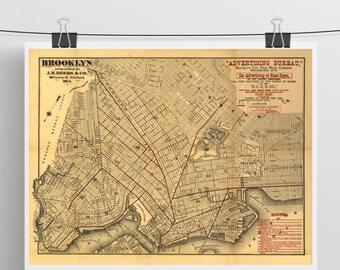 Vintage Map of Brooklyn