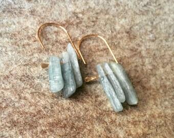 Raw Kyanite 14k gold filled loop earrings