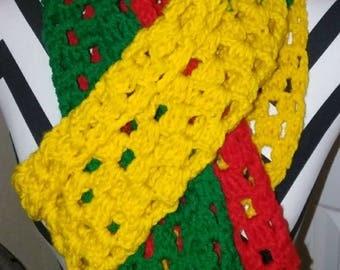 Caribbean Crochet Scarf, Bright Colors, Yellow, Green, Red. Bob Marley, Rastafarian, Jamaica, Men and boys gift, Women and girls gifts, Yarn