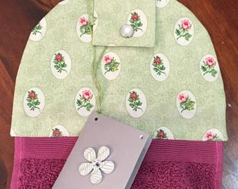 Hanging hand towel - rose towel - floral top