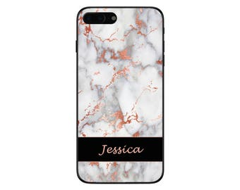 Personalised Rose Gold Marble Lower Banner Name Phone Case for Apple iPhone and Samsung Galaxy 5 6 6s 7 8 10