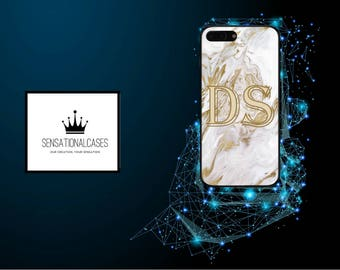 Personalised Large Initials Liquid White Gold Marble Phone Case for Apple Iphone and Samsung Galaxy 5 6 6s 7 8 10