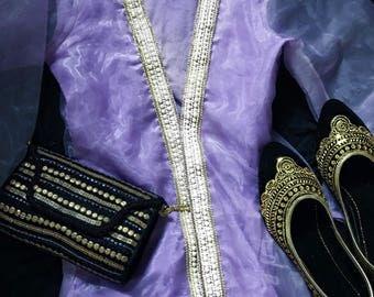 Lavender Kimono with Pearl embellishments