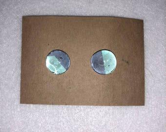 Navy and Turqouise Chevron Earrings- Marble Earrings- Handmade earrings