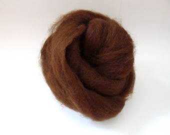 Alpaca Roving Fiber for Spinning - 4oz Brown