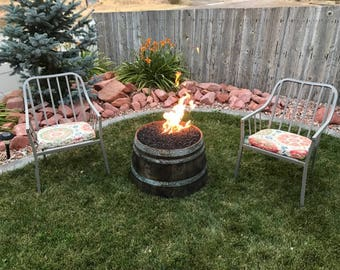 Half Wine Barrel Whiskey Barrel Fire Pit With 12' Propane Quick Disconnect Hose