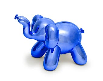 Elephant Balloon Money Bank, Cool and Unique Ceramic Piggy Bank with High-Gloss Finish/Moder Home Decor/ Nursery Decor/ Housewarming Gift