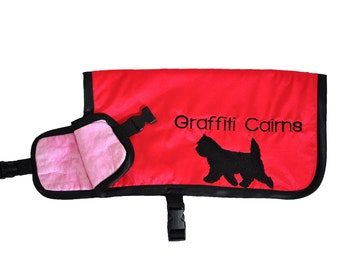 Dog Cooling Coat, cooling vest for dogs, cooler jacket, cool coat, red, synthetic chamois, free embroidery, conformation show agility
