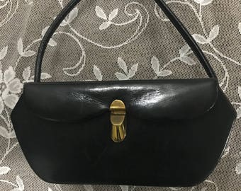1950s style Vintage Structure Black Handbag.