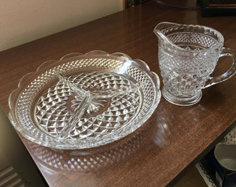Anchor Hocking Wexford Divided Relish Tray and Open Creamer