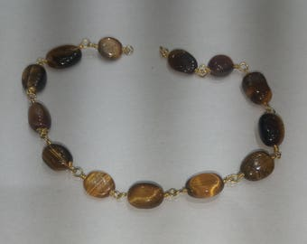 SGR047 one foot silver gold  plated tiger eye   nuggets rosary chain