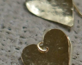 GOLD FILLED TEXTURED Heart Earrings, perfect unique women's gift, weddings, valentine