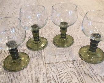 Vintage etched brandy glasses