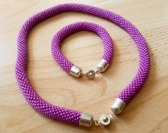 Purple Beaded Rope Necklace