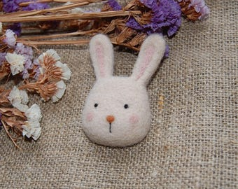 Felted animals Hare brooch Needle felted brooch hare's head Felted art Felted brooch Wool brooch Felted toy Hare ornament