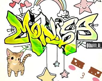 Monica  -  Custom Graffiti Name Sign, Graffiti Art Canvas Print, Personalized Canvas Wall Art, Abstract Graffiti Canvas