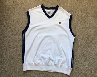 Men's Vintage 80s 90s Nike White Tennis Sweater Vest Size Xl