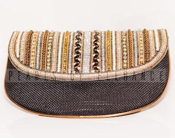 Beaded embellished clutch bag