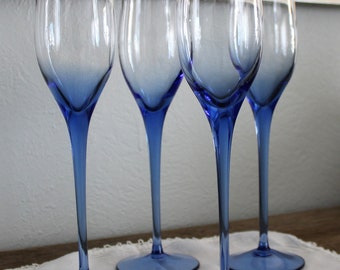 Cobalt blue wine champagne stemware with tulip bowl