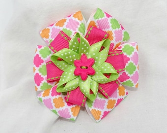 Pink and green layered hair clip