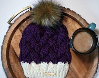 Beanie, Braided Cable Beanie, purple, deep purple, royal purple, white, ivory, beanie with faux fur pom pom, faux fur pom pom, brown pom pom