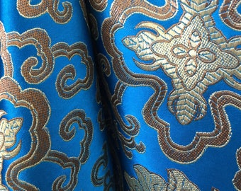 Adelaide TURQUOISE GOLD Chinese Brocade Satin Fabric by the Yard - 10058