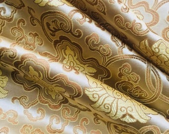 Adelaide GOLD Chinese Brocade Satin Fabric by the Yard - 10058