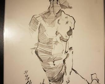 Nude woman in profile