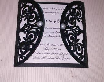 12 Black fold weddinginvitation