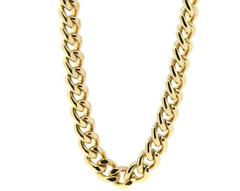 """New Mens 18K Gold Plated 30"""" or 36"""" Inches Hip hop Cuban Curb Link Chain Necklace 10mm"""