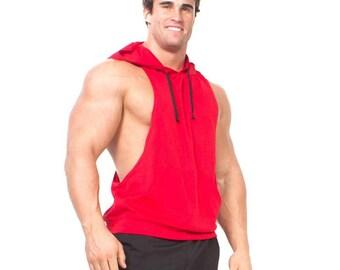 Men's Muscle Hoodie Racerback Dry Fit Sleeveless Stringer