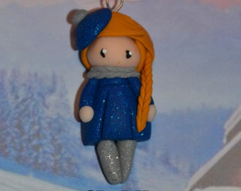 Baby blue dress polymer clay glitter, golden hair - winter Collection - handmade jewelry