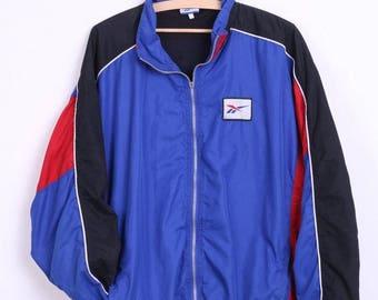 Reebok Mens XL Track Top Jacket Blue Sport Bomber Vintage