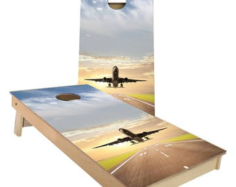 Jet Aircraft taking off from Runway Cornhole Boards