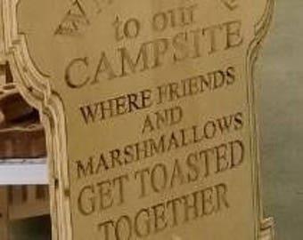 Custom Wood Campsite Welcome Sign / Plaque