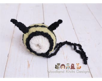 Newborn Bee Set, Newborn Bee Bonnet and Pants, Bee Pants Newborn, Newborn Bee Set, Bumble Bee Outfit, Newborn Knit Bee Outfit