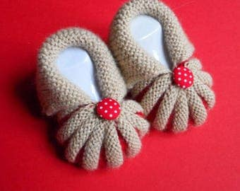 In the Dordogne Pumpkins by hand knitted baby booties - Beige and Red