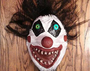 Scary Funny Clown Half Mask Latex :  Red, white, black with Eyes