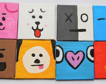 Hand painted BT21 Canvas Magnets