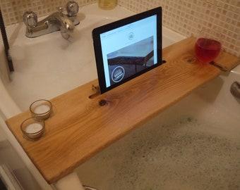 Wooden Bath Caddy - Wooden Bath Tray - Spa - Pamper- Bath board - Wooden Bath Board - Tablet Stand - Valentines - Candle holder