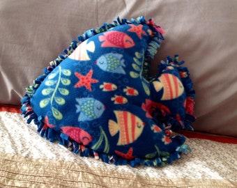 Fleece decorative fish pillow, cushion, kids, sea life