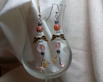 Long drop angel earrings