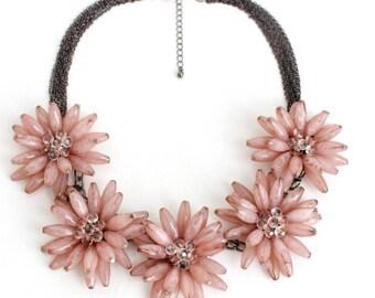 Beautiful pink flower statement necklace