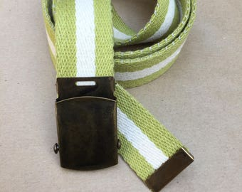 Green Canvas Belt - 100% Cotton with Slide Buckle