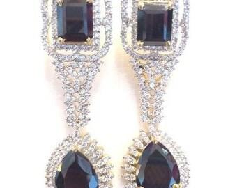 Black stone,American diamonds earrings