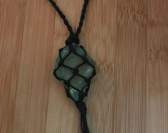 Macrame Stone Necklace - Black with Sea Glass