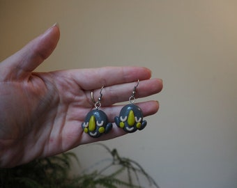 Content - in Grey - Polymer Clay Earrings