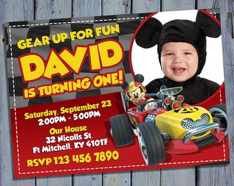 Mickey and the Roadster Racers Party Invite, Mickey Mouse Birthday Card Invitation, Racer Printable Digital Invitations, Custom Printables